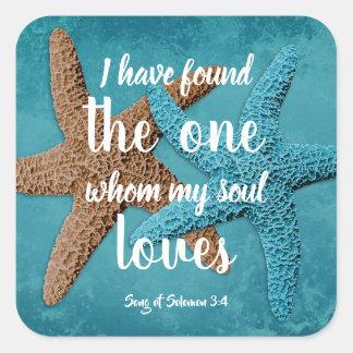 Große Starfish mein Soul-Liebenscripture-Umschlag Quadratischer Aufkleber