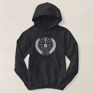 Große Stickerei des coolen anonymen Logo-Symbols Hoodie