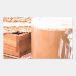 Große Tasse heißer Kakao mit Schaum Rechteckiger Aufkleber