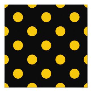Große Tupfen - Bernstein auf Schwarzem Quadratische 13,3 Cm Einladungskarte