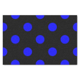 Große Tupfen - Blau auf Schwarzem Seidenpapier