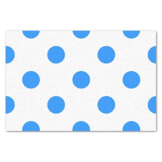 Große Tupfen - Dodger-Blau auf Weiß Seidenpapier
