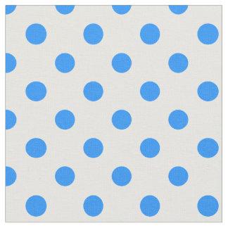 Große Tupfen - Dodger-Blau auf Weiß Stoff