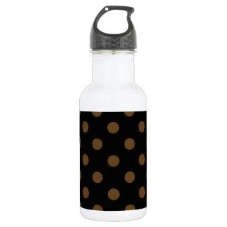 Große Tupfen - dunkles Brown auf Schwarzem Edelstahlflasche