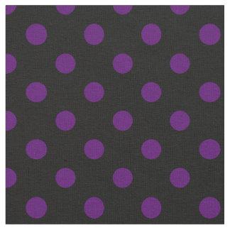 Große Tupfen - dunkles Veilchen auf Schwarzem Stoff