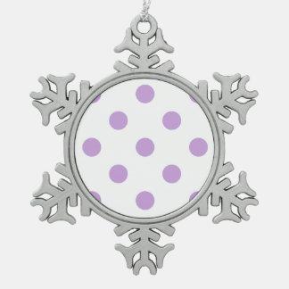 Große Tupfen - Glyzinien auf Weiß Schneeflocken Zinn-Ornament
