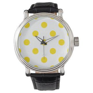 Große Tupfen - goldenes Gelb auf Weiß Armbanduhr