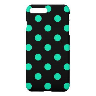 Große Tupfen - karibisches Grün auf Schwarzem iPhone 8 Plus/7 Plus Hülle