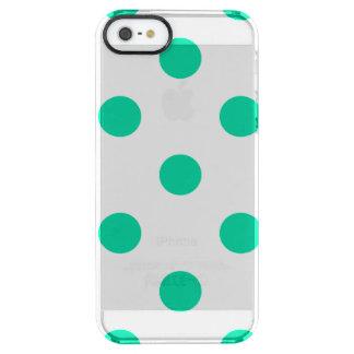 Große Tupfen - karibisches Grün auf Weiß Durchsichtige iPhone SE/5/5s Hülle