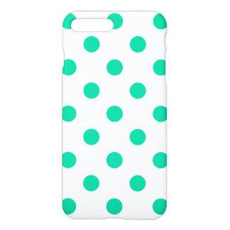 Große Tupfen - karibisches Grün auf Weiß iPhone 8 Plus/7 Plus Hülle