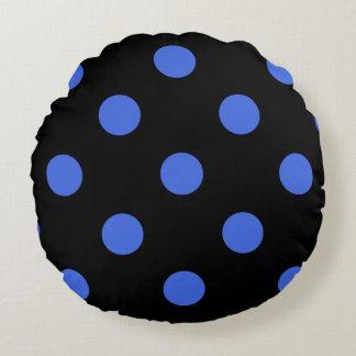 Große Tupfen - Königsblau auf Schwarzem Rundes Kissen