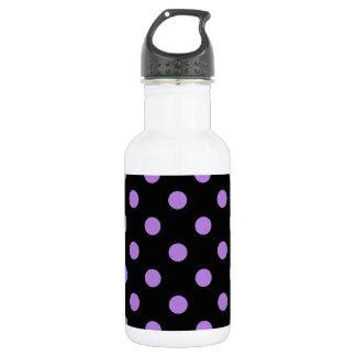 Große Tupfen - Lavendel auf Schwarzem Edelstahlflasche