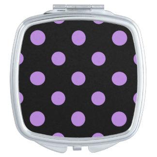 Große Tupfen - Lavendel auf Schwarzem Taschenspiegel