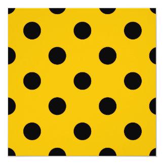 Große Tupfen - Schwarzes auf Bernstein Quadratische 13,3 Cm Einladungskarte