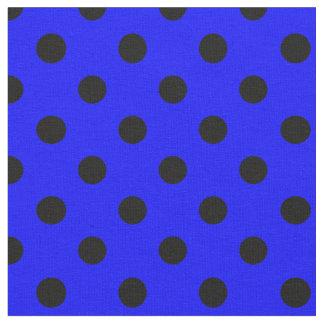 Große Tupfen - Schwarzes auf Blau Stoff