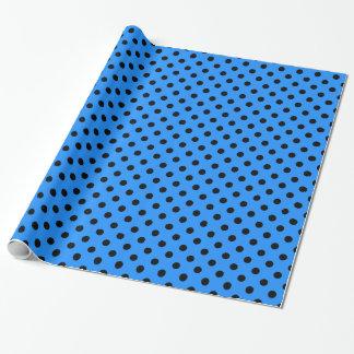 Große Tupfen - Schwarzes auf Dodger-Blau Geschenkpapier