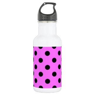 Große Tupfen - Schwarzes auf ultra rosa Edelstahlflasche