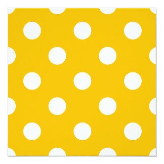 Große Tupfen - Weiß auf Bernstein Quadratische 13,3 Cm Einladungskarte