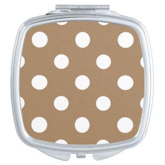 Große Tupfen - Weiß auf blassem Brown Taschenspiegel