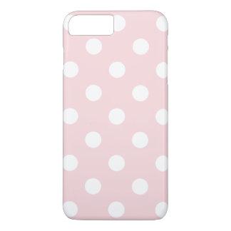 Große Tupfen - Weiß auf blassem - Rosa iPhone 8 Plus/7 Plus Hülle