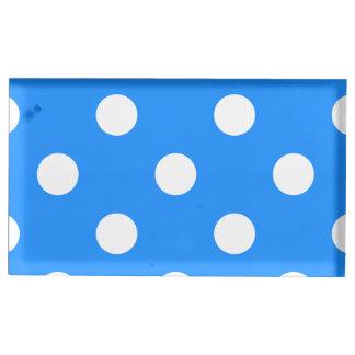 Große Tupfen - Weiß auf Dodger-Blau Platzkartenhalter