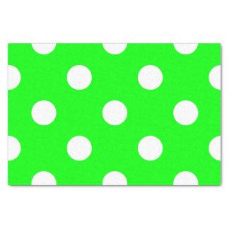 Große Tupfen - Weiß auf elektrischem Grün Seidenpapier