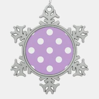 Große Tupfen - Weiß auf Glyzinien Schneeflocken Zinn-Ornament