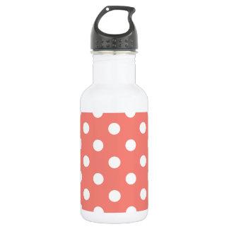 Große Tupfen - Weiß auf korallenrotem Rosa Trinkflasche