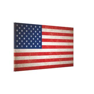 Große Vintage Grunge-Art-amerikanische Flaggen-Lei Leinwand Druck