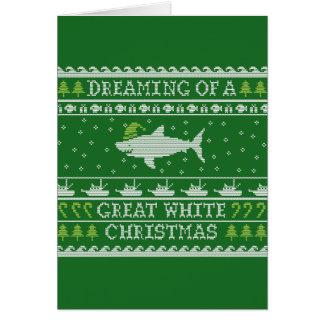 Große weißes Weihnachtslustige hässliche Karte