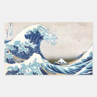Große Welle Hokusai Vintage japanische Kunst Rechteckiger Aufkleber