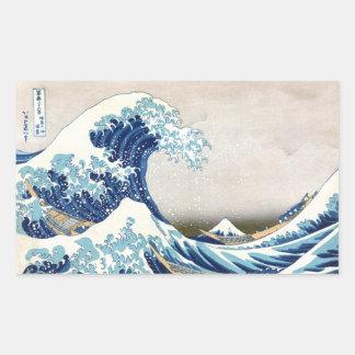 Große Welle weg von der Japaner-schönen Kunst Rechteckiger Aufkleber