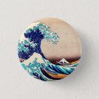 Große Welle weg von japanischem Vintagem Runder Button 3,2 Cm