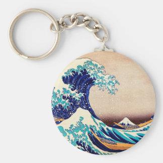 Große Welle weg von japanischem Vintagem Standard Runder Schlüsselanhänger