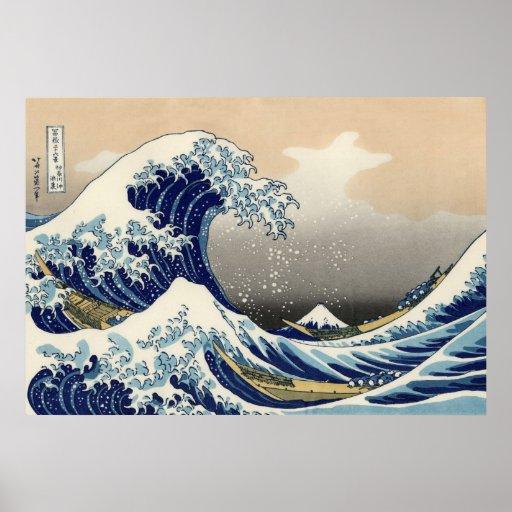 Große Welle weg von Kanagawa-Plakat