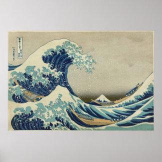 Große Welle weg von Kanagawa Poster