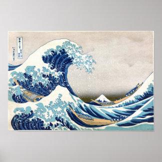 Große Welle weg von schöner Kunst Kanagawa Hokusai Poster
