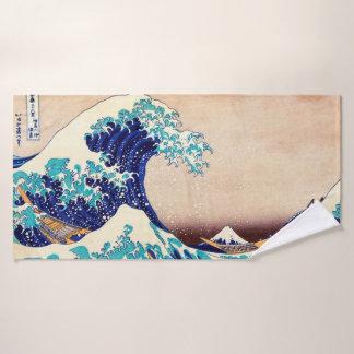 Große Welle weg von Vintager japanischer Kunst Badehandtuch