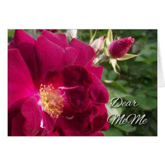 Großeltern-Tag für MeMe, Rote Rose und Knospe Grußkarte