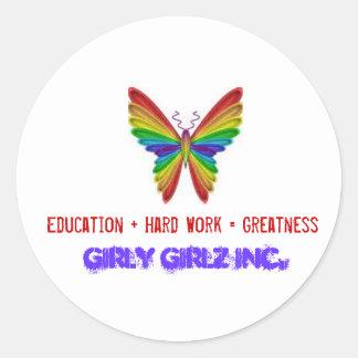 Größen-Aufkleber Girly Girlz Inc. Runder Aufkleber