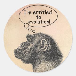 Großer Affen-Evolutions-Bezeichnung Runder Aufkleber