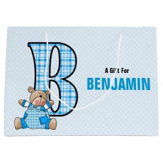 GROSSER blauer Buchstabe B für Jungen mit Große Geschenktüte