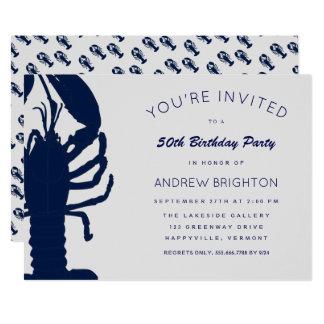 Großer blauer Hummer seine Geburtstags-Party 12,7 X 17,8 Cm Einladungskarte