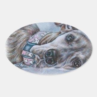 Großer Däne-Hund, der Entwurf zeichnet Ovaler Aufkleber