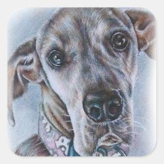 Großer Däne-Hund, der Entwurf zeichnet Quadratischer Aufkleber