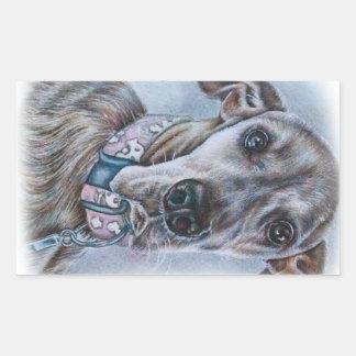 Großer Däne-Hund, der Entwurf zeichnet Rechteckiger Aufkleber