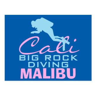 Großer Felsen tauchendes Malibu Postkarte
