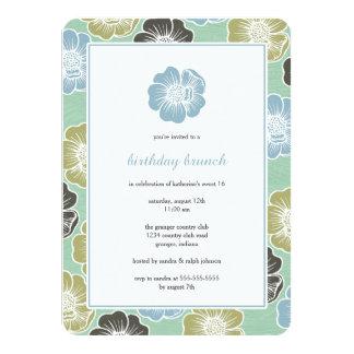 Großer Geburtstag der Blüten-sechzehn lädt ein 11,4 X 15,9 Cm Einladungskarte
