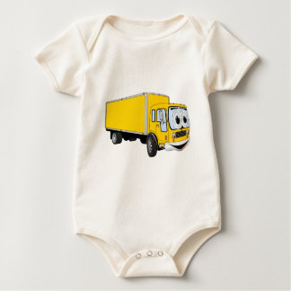 Großer gelber Lieferwagen-Cartoon Baby Strampler