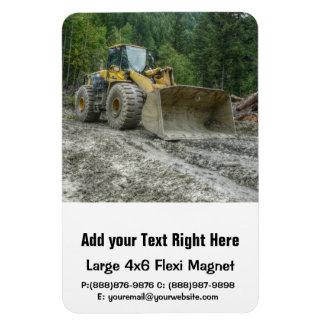 Großer gelber Planierraupen-Traktor-schwere Rechteckiger Fotomagnet